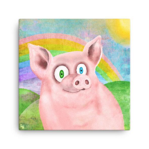 """Happy Pig"" Canvas Print"