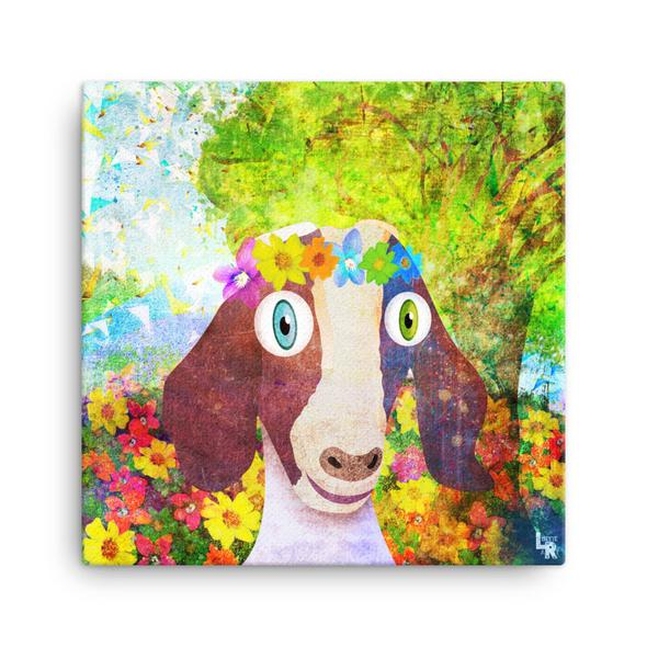 """Sweet Goat with Flower Crown Portrait"" Canvas Print"