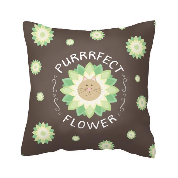 """""""Purrrfect Flower"""" Throw Pillow"""