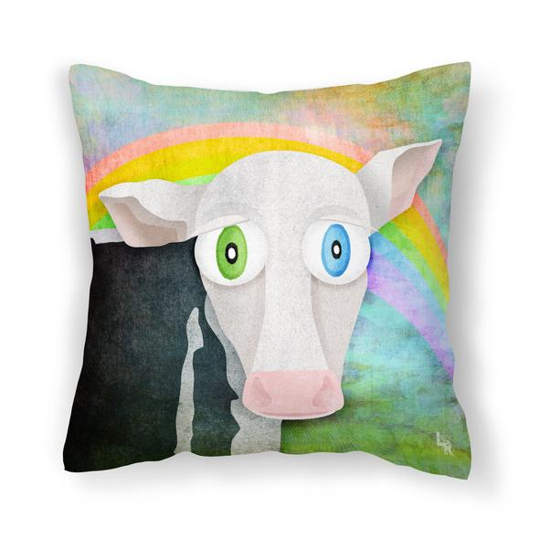"""""""The Cow Who Freed Himself"""" Throw Pillow"""
