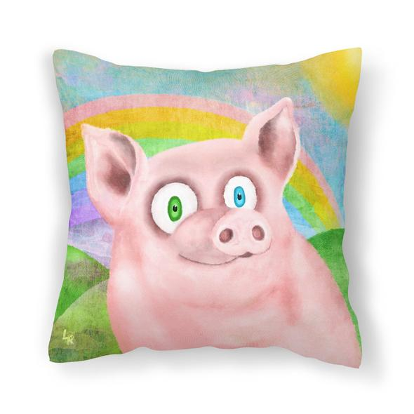 """""""Happy Pig"""" Throw Pillow"""