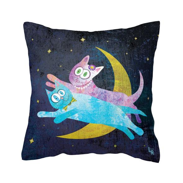 """""""Cat Lovers Over The Moon"""" Throw Pillow"""
