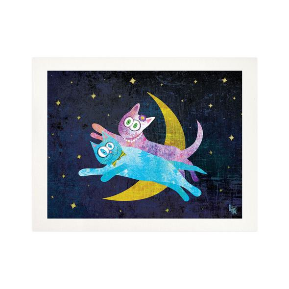 """Cat Lovers Over the Moon"" Fine Art Print"