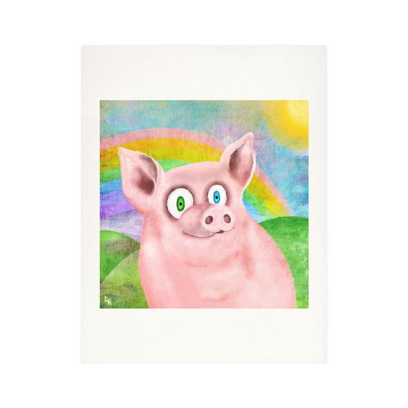 """Happy Pig"" Fine Art Print"