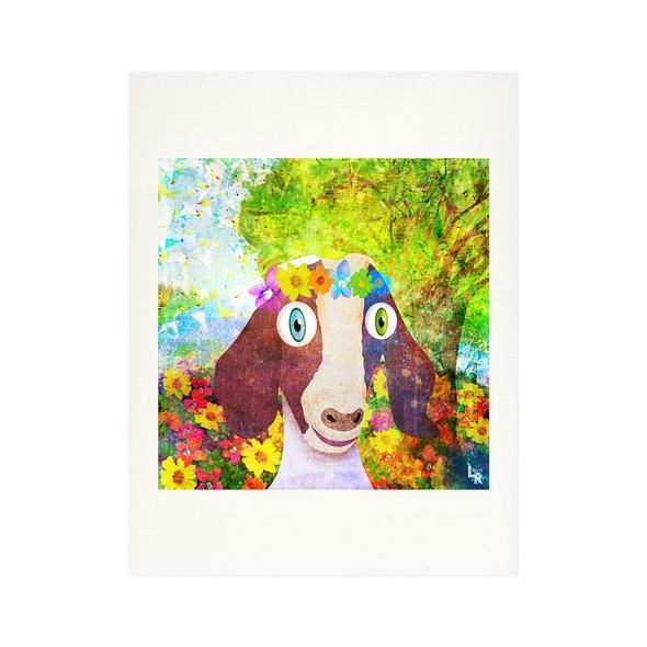 """Sweet Goat with Flower Crown Portrait"" Fine Art Print"
