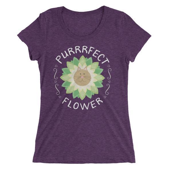 """Purrrfect Flower"" Women's Fitted T-Shirt"