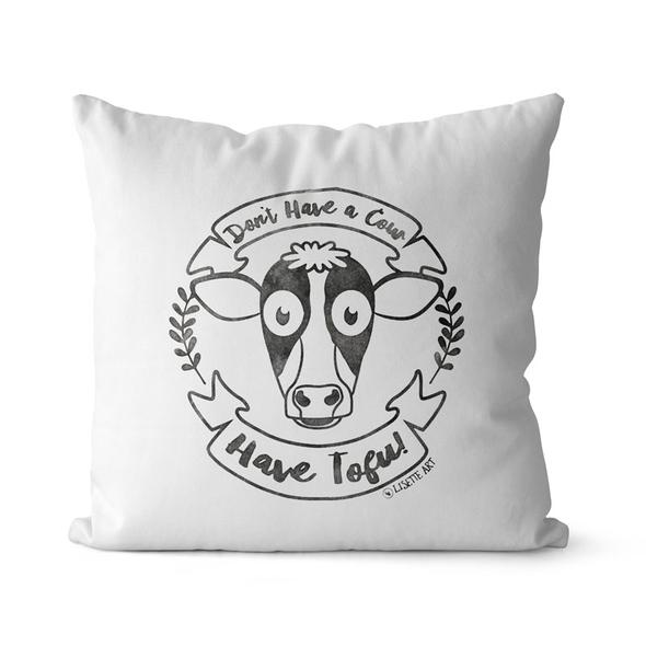 """""""Don't Have a Cow, Have Tofu!"""" (vintage) Premium Throw Pillow Cover"""