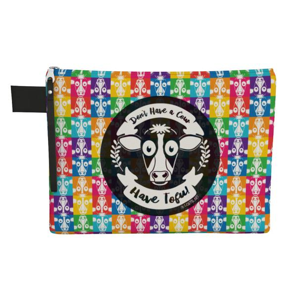 """Don't Have a Cow, Have Tofu!"" (multi-color checker print) Large Zipper Pouch - Vegan Clutch"