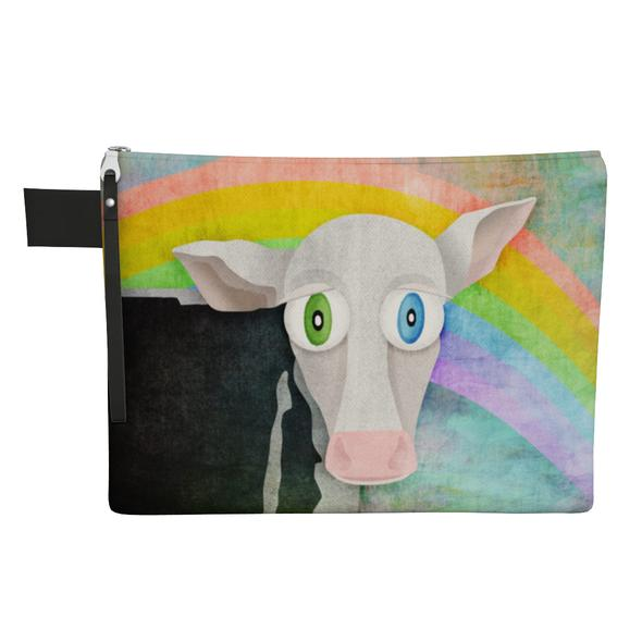 """""""Cowpassionate Living - The Cow Who Freed Himself"""" Large Zipper Pouch - Vegan Clutch"""