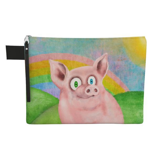 """""""Happy Pig"""" Large Zipper Pouch - Vegan Clutch"""