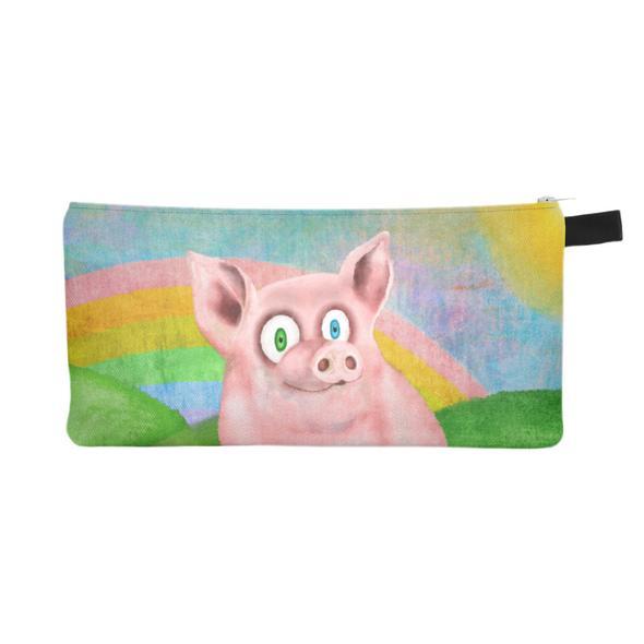 """""""Happy Pig"""" Zipper Pouch - Pencil Case - Small Vegan Makeup Bag"""