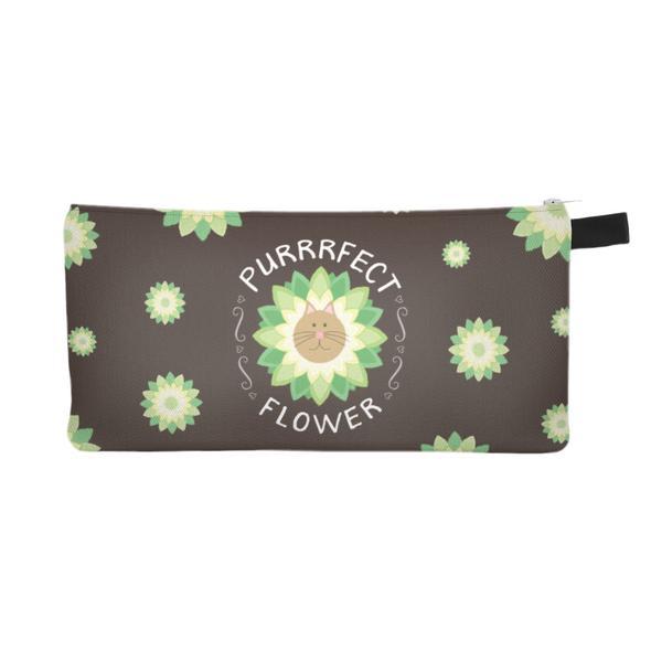 """""""Purrrfect Flower"""" Zipper Pouch"""