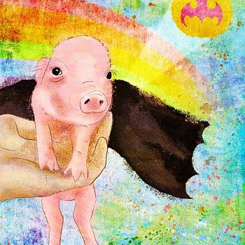 Batman Forever - Digital Painting of Rescued Pig