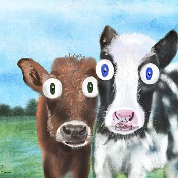 Potato and Chester - Digital Painting of Cows