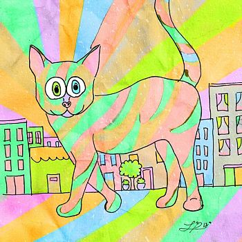 Kitty in the City - Mixed Media Drawing