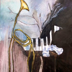 Musical Hollow - Hippiano - Mixed Media Painting