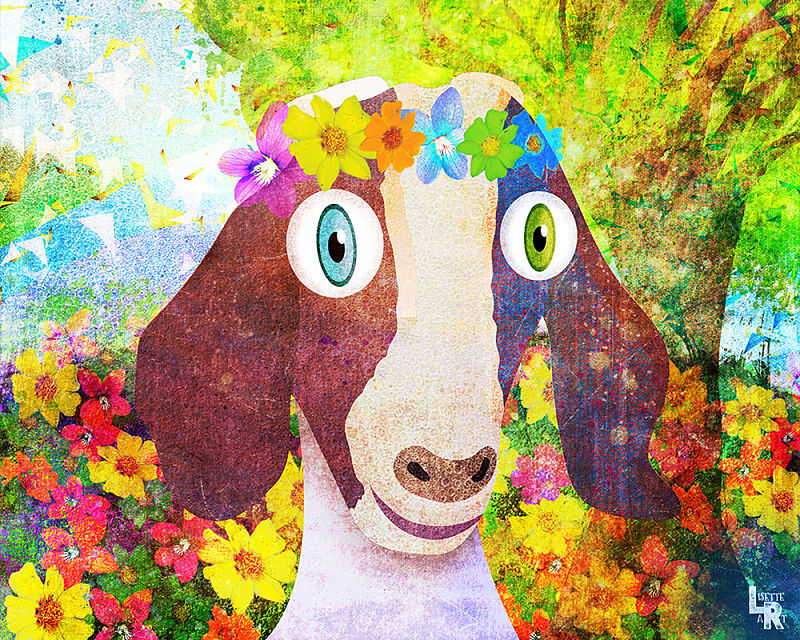 Sweet Goat with Flower Crown Portrait - Digital Illustration