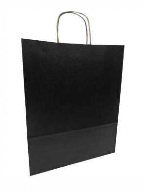 papírová taška černá, kroucené ucho