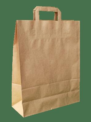 papírová taška hnědá, ploché ucho
