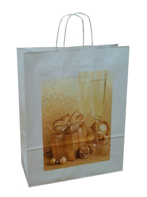 papírová taška bílá Vánoce, bílé kroucené ucho