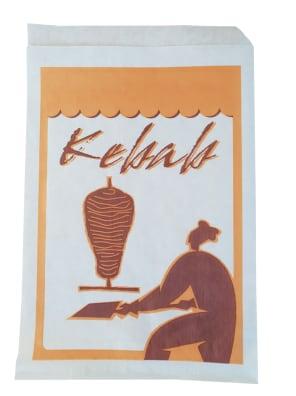 papírový sáček na kebab bílý s potiskem