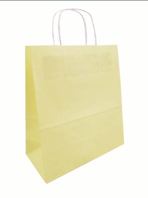 papírová taška žlutá, kroucené ucho
