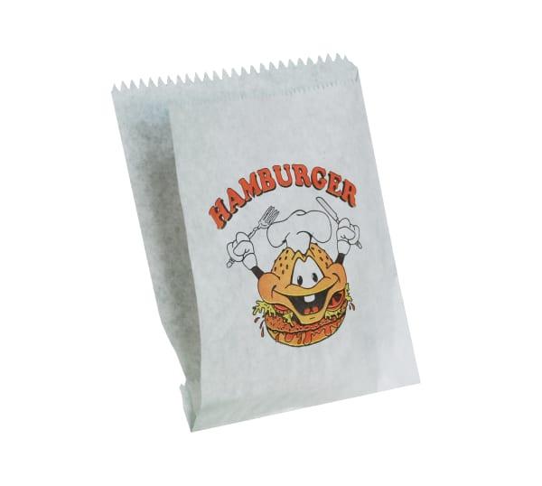 sáček na hamburger bílý, tříbarevný potisk