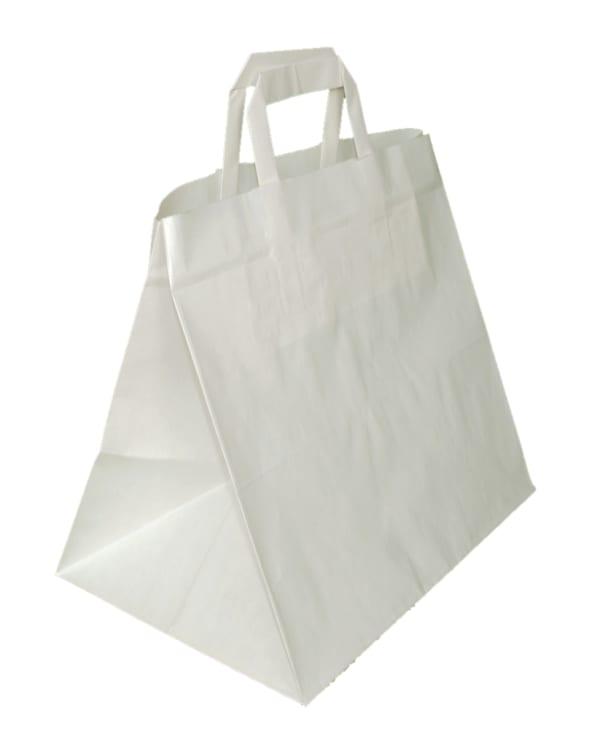 papírová taška na menubox bílá, bílé ploché ucho