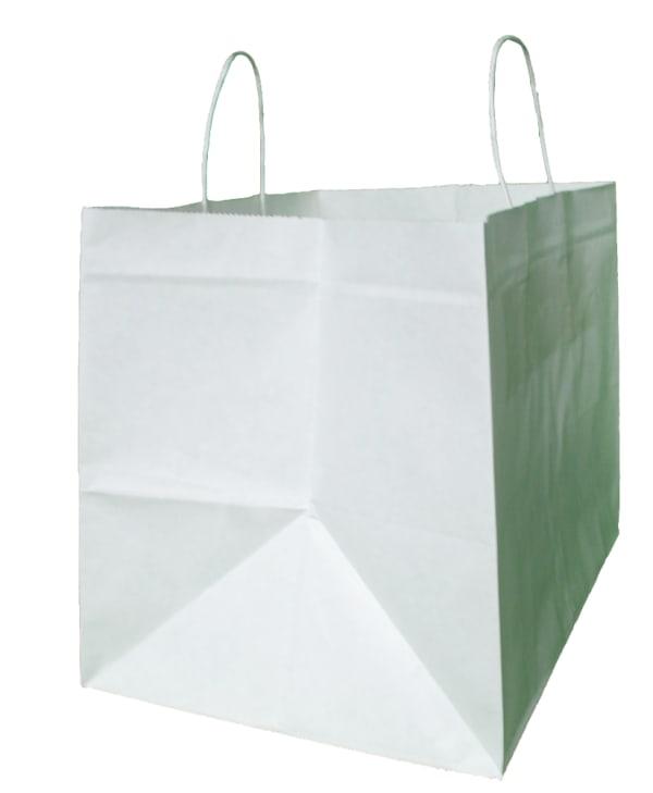 papírová taška na menubox bílá, bílé kroucené ucho