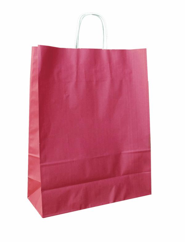 papírová taška bordó, bílé kroucené ucho