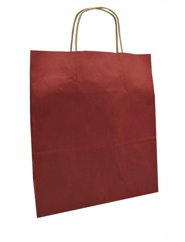 papírová taška bordó, hnědé kroucené ucho