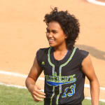 softball player smiling