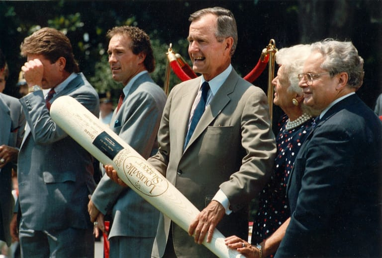 President and Mrs. Bush along with Dr. Creighton Hale, right, former President and CEO of Little League International, during Little League's 50th Anniversary celebration at the White House in 1989.