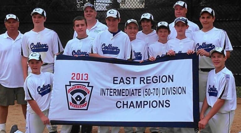 Zach (Back Row, first player from left), Nick (Back Row, third player from left), and Ian (Back Row, fourth player from right) celebrate their 2013 Regional title.
