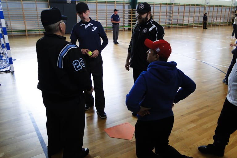 Umpires meet with a LL instructor