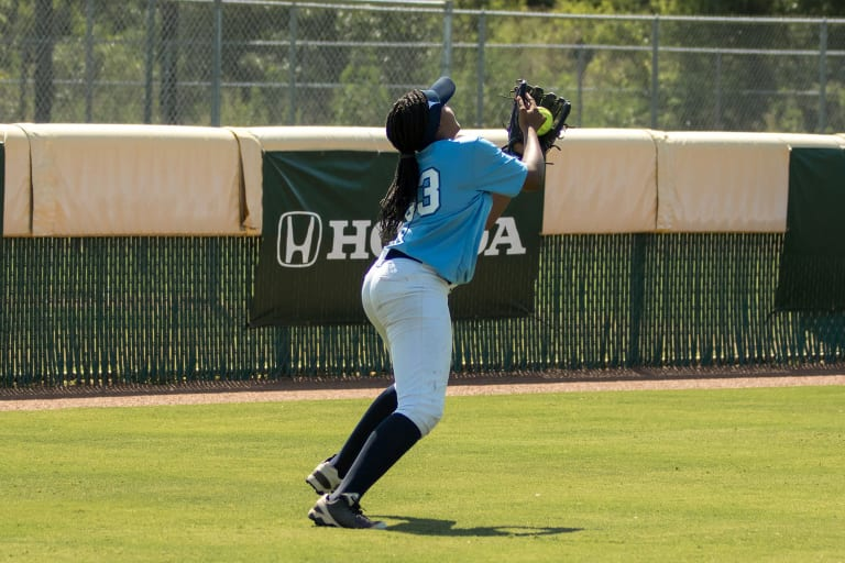 outfielder catching ball