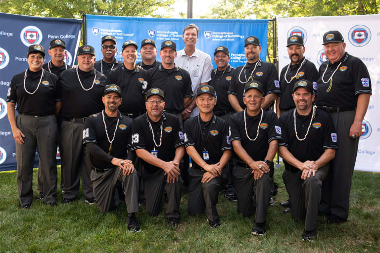 Umpires with Randy Johnson
