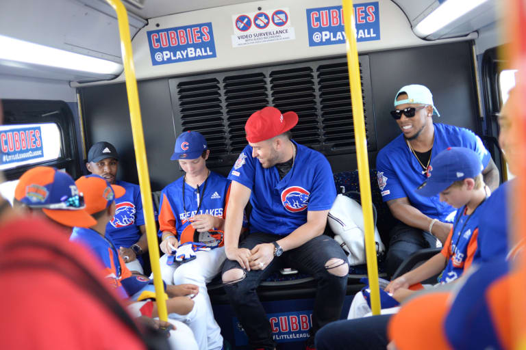 Great Lakes players with Cubs in bus