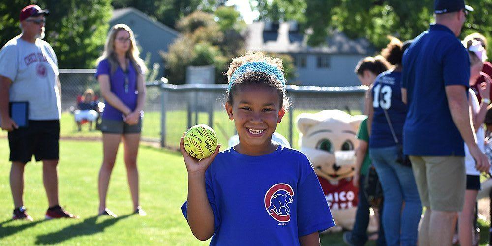 happy softball girl