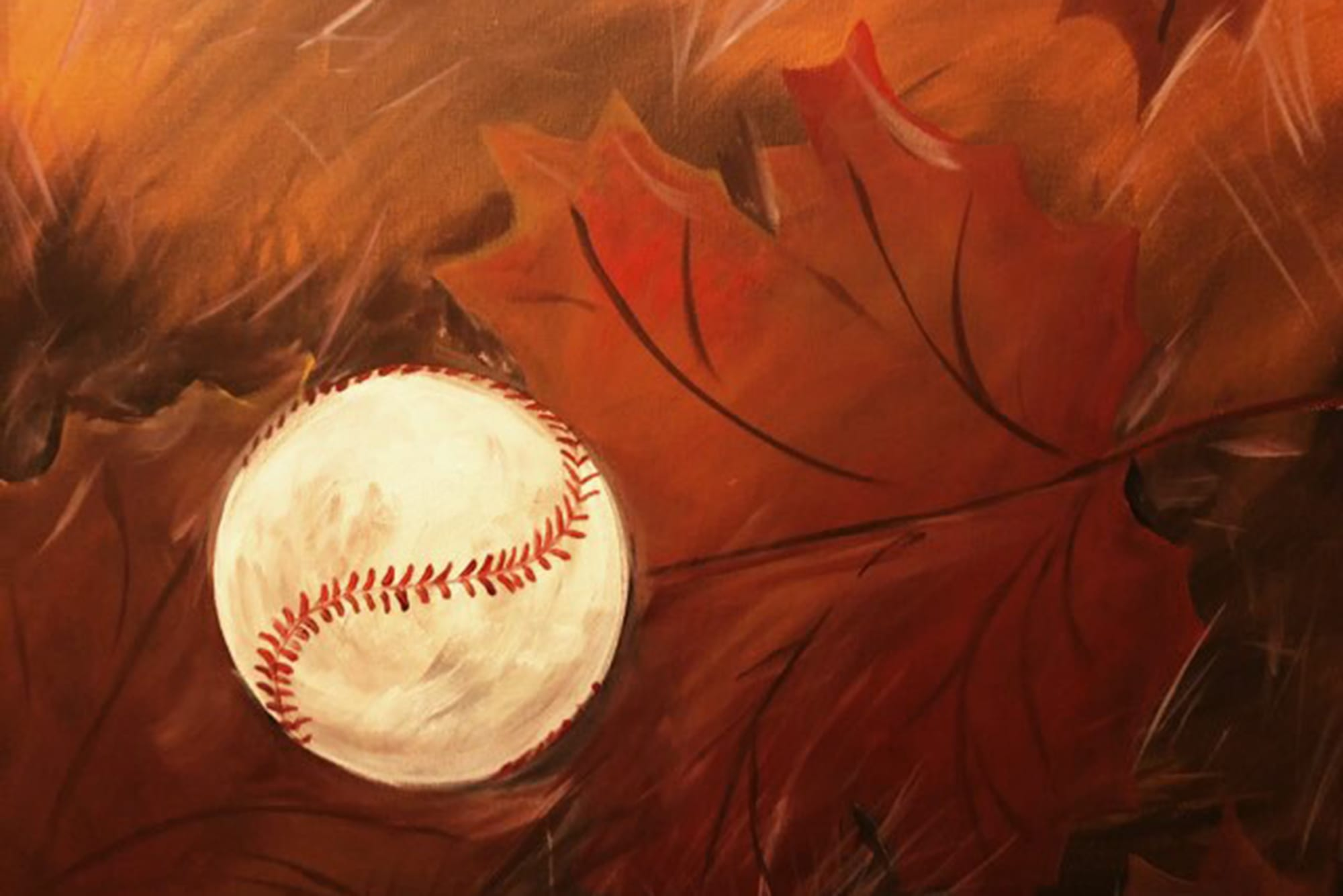 Art at the Museum painting of baseball with fall foliage