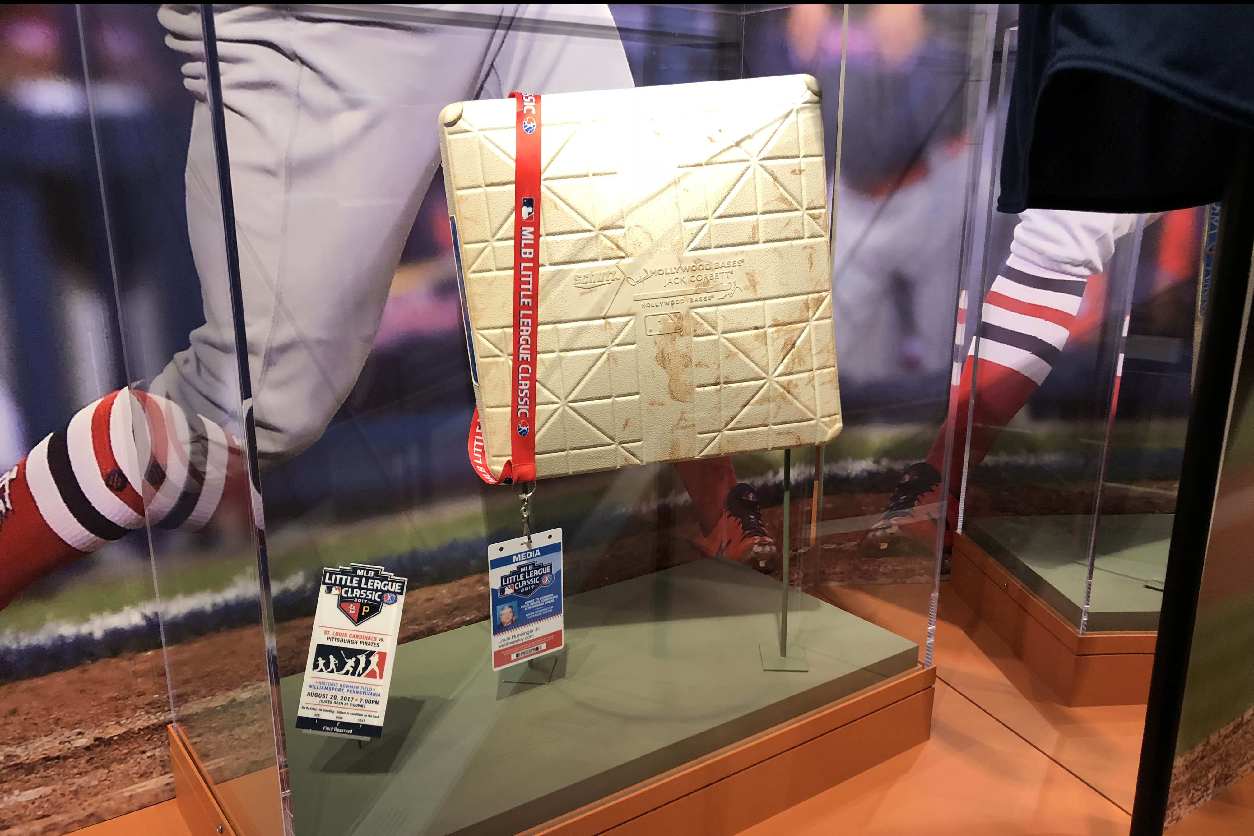 Original ticket, credential, and base from the Inaugural MLB Little League Classic
