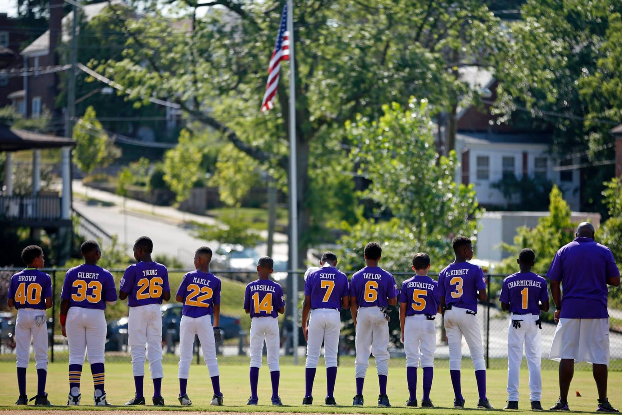 Mamie Johnson Little League enjoy the National Anthem