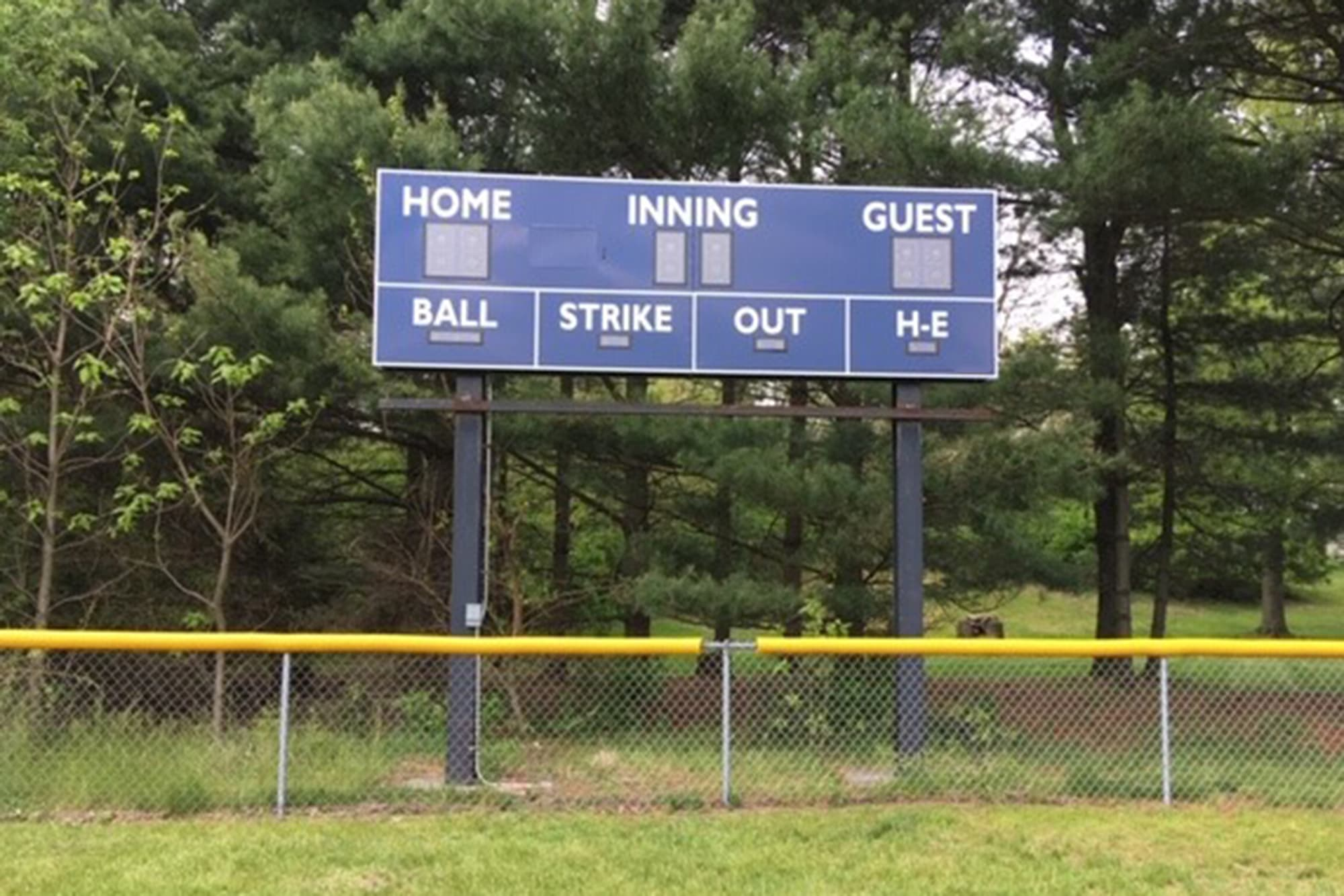 DeMotte LL New Scoreboard built from the Grow the Game Grant