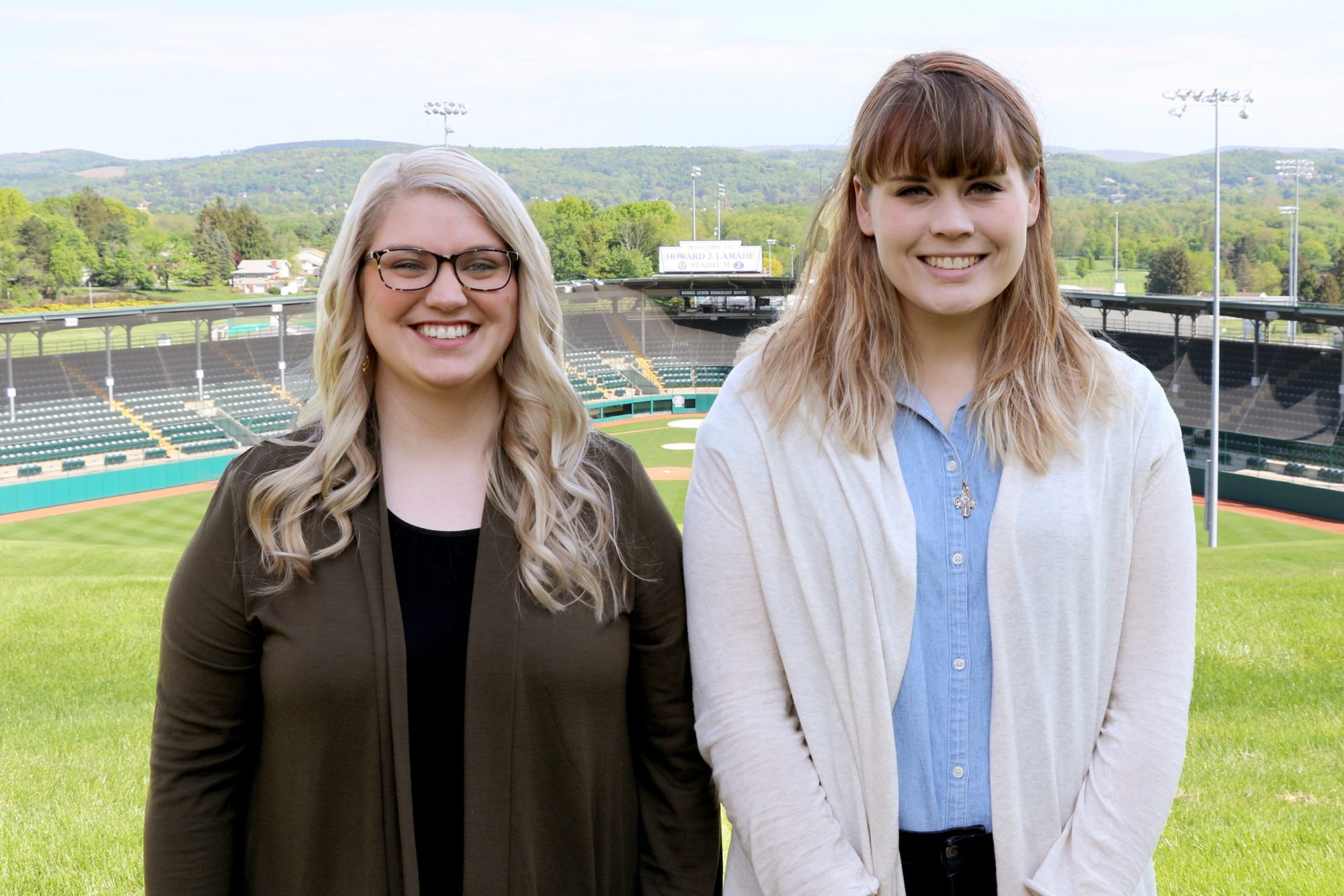 Photo of Amy Brooks and Hannah James above Howard J. Lamade Stadium.