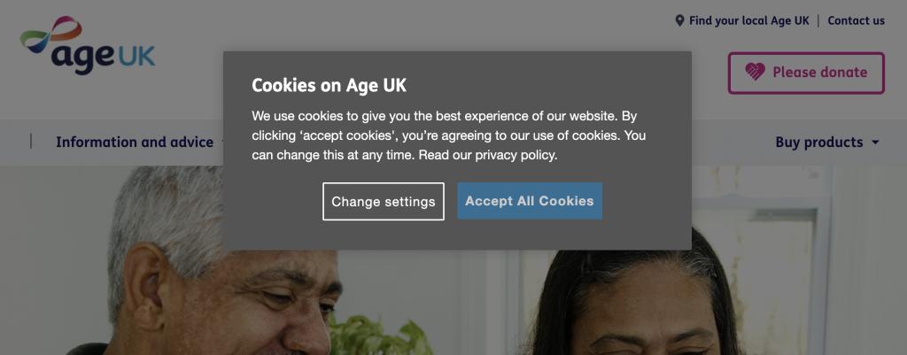 Age UK cookie popup