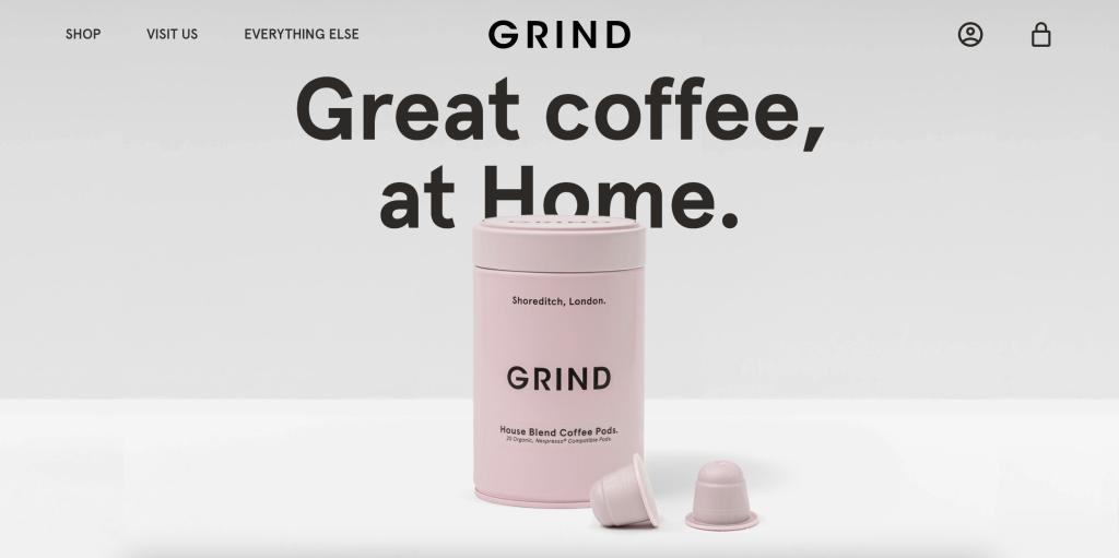grind coffee homepage
