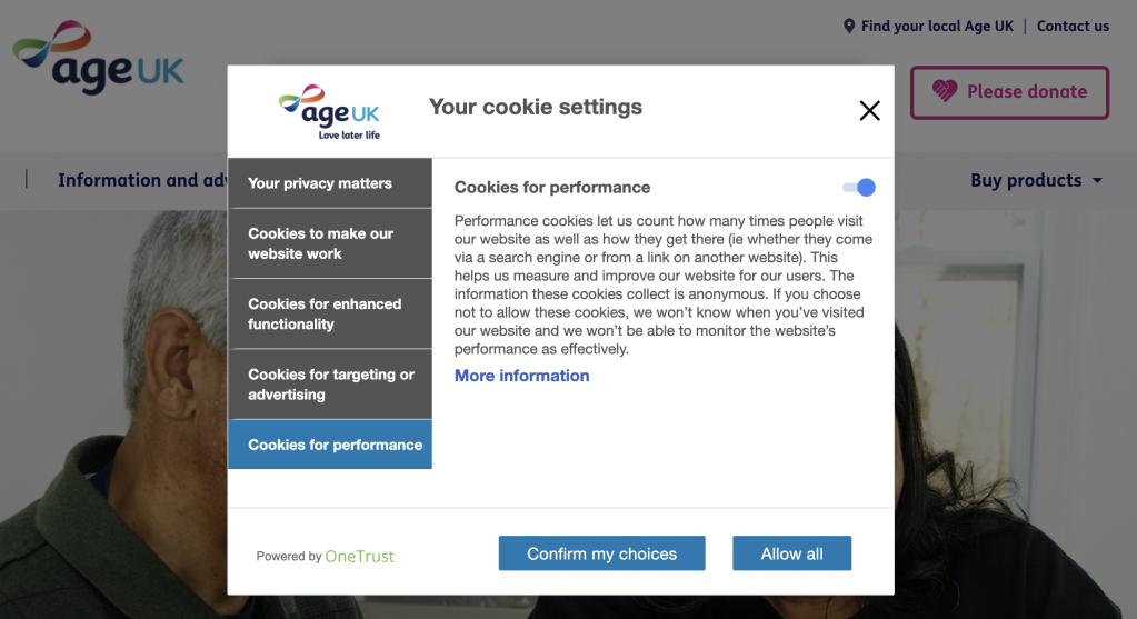 Age UK cookie settings