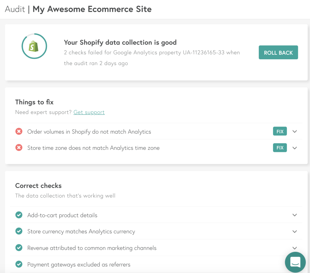 Littledata Google Analytics Shopify Audit