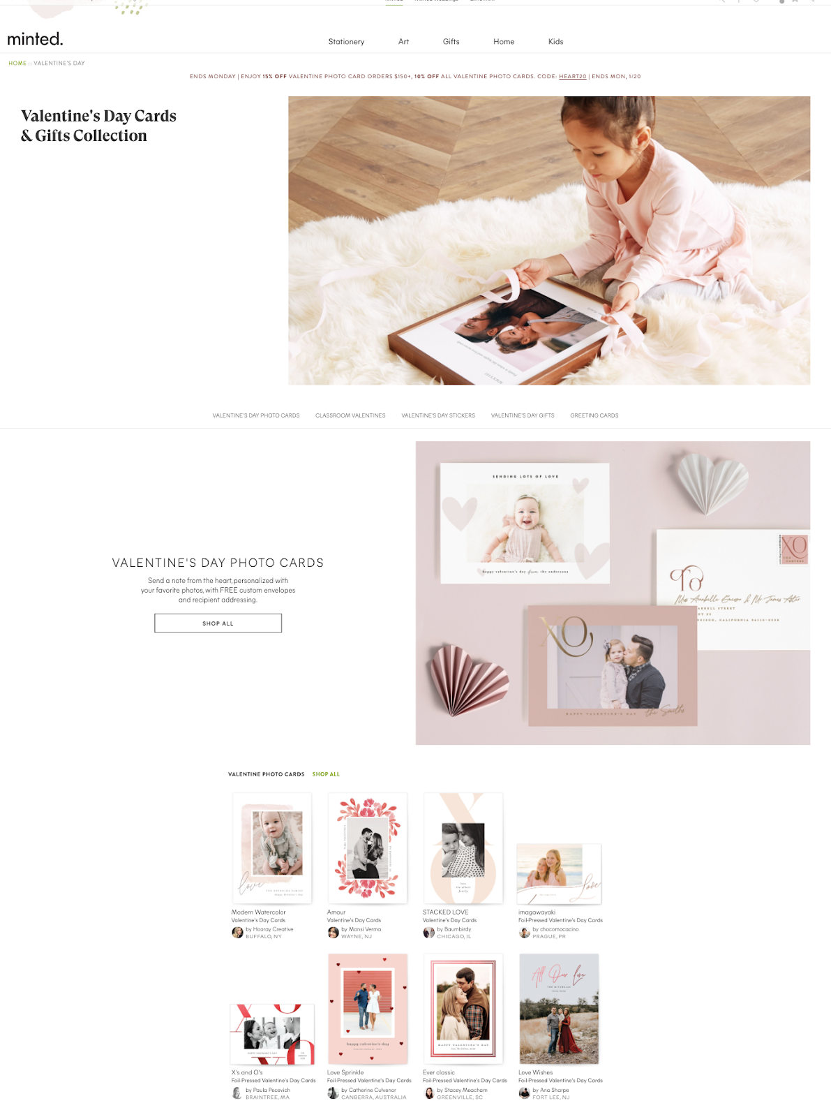 Screenshot of Minted's Valentine's Day landing page.