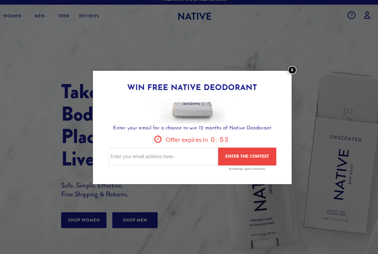 Shopify pop-up by Native deodorant
